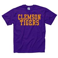 Clemson Tigers Purple Stacked Text Neon T-Shirt