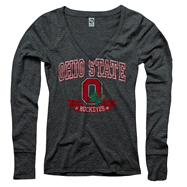 Ohio State Buckeyes Women's Heather Black Knockout Ring Spun Long Sleeve V-Neck T-Shirt