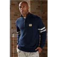 Notre Dame Fighting Irish ND Gold Navy/White 1/4 Zip Sweater