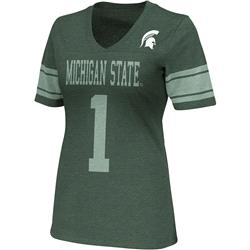 Michigan State Spartans Green Women's Rebel V-Neck T-Shirt