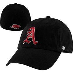 Arkansas Razorbacks '47 Brand Black Vault Logo Franchise Fitted Hat