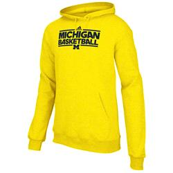 Michigan Wolverines adidas Basketball On-Court Hooded Sweatshirt -Gold