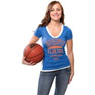 Florida Gators Women's Royal Side Stripe Jersey Burnout V-neck T-Shirt
