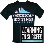American Sentinel University Full Color Logo 2 Loc Black Tee