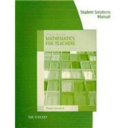 Student's Solutions Manual for Sonnabend's Mathematics for Elementary Teachers, 4th