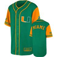 Miami Hurricanes Youth Green Rally Baseball Jersey