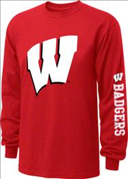 Wisconsin Badgers  Red Youth Double Hit II Long Sleeve T-Shirt