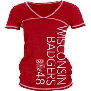 Wisconsin Badgers Women's Red/White Burnout V-Neck T-Shirt