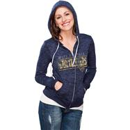 West Virginia Mountaineers Women's Navy Burnout Full Zip Hooded Sweatshirt