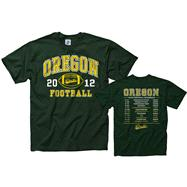 Oregon Ducks 2012 Football Season Schedule T-Shirt