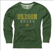 Oregon Ducks Women's Worn Out Ring Spun Scoopneck Sweatshirt