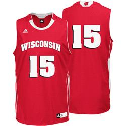 Wisconsin Badgers #15 Replica Basketball Jersey - Red