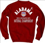 Alabama Crimson Tide 2013 BCS National Championship Game Floored Crewneck Sweatshirt - Cardinal
