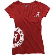 Alabama Crimson Tide Women's Crimson Cossett Mascot Deep V-Neck Tee
