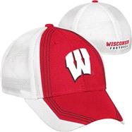 Wisconsin Badgers Red adidas Camp Structured Meshback Flex Hat