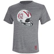 Wisconsin Badgers Heather Grey adidas Originals Big Retro Helmet Tri-Blend T-Shirt