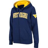 West Virginia Mountaineers Women's Navy Twill Tailgate Full-Zip Hooded Sweatshirt