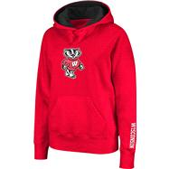 Wisconsin Badgers Women's Red Twill Victory Lap Hooded Sweatshirt