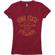 Iowa State Cyclones Red Women's Sporty Hoops Deep V-Neck T-Shirt