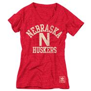 Nebraska Cornhuskers Women's Heather Red adidas Originals Gym Class Tri-Blend Vintage T-Shirt