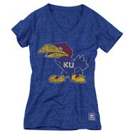 Kansas Jayhawks Women's Heather Royal adidas Originals Super Fan Tri-Blend T-Shirt