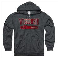 Wisconsin Badgers Heather Grey Bridge Ring Spun Full-Zip Hooded Sweatshirt