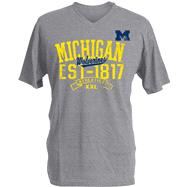 Michigan Wolverines Charcoal Heather Athletic V-Neck T-Shirt