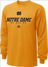 Notre Dame Fighting Irish Gold adidas 2012 Football Sideline Graphic Long Sleeve T-Shirt