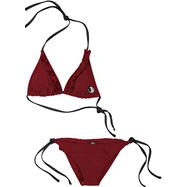 Florida State Seminoles Women's Garnet Ruffled String Bikini
