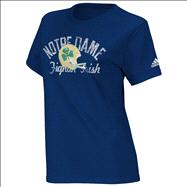 Notre Dame Fighting Irish Womens Lights Navy Distressed T-Shirt