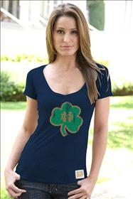 Notre Dame Fighting Irish Original Retro Brand Women's Lucky Vintage Deep V-Neck T-Shirt