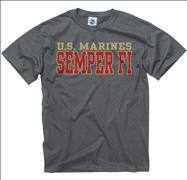 US Marine Corps Charcoal Straight Line T-Shirt
