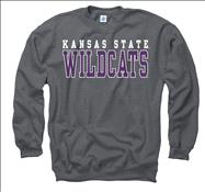 Kansas State Wildcats Charcoal Straight Line Crewneck Sweatshirt