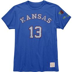 Kansas Jayhawks Original Retro Brand Wilt Chamberlain #13 Name & Number T-Shirt
