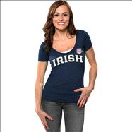 Notre Dame Fighting Irish Women's 2013 BCS National Championship Game Irish Arch V-Neck T-Shirt - Navy