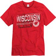 Wisconsin Badgers Red Escalate Basketball Ring Spun T-Shirt