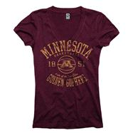 Minnesota Golden Gophers Maroon Women's Sporty Hoops Deep V-Neck T-Shirt