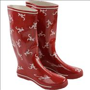 Alabama Crimson Tide Women's Cardinal All-Over Print Rubber Rain Boots