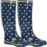 Michigan Wolverines Women's Navy All-Over Print Rubber Rain Boots