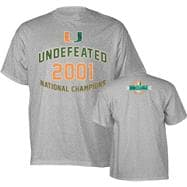 Miami Hurricanes Grey 2001 Football National Champions Commemorative T-Shirt