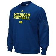 Michigan Wolverines Navy adidas Practice Stitch ClimaWarm Crewneck Sweatshirt