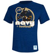 Navy Midshipmen Heather Navy adidas Originals Iron Heat Gridiron Tri-Blend T-Shirt