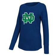 Notre Dame Fighting Irish Women's Navy adidas Sparkle Script Thermal Raglan Long Sleeve T-Shirt
