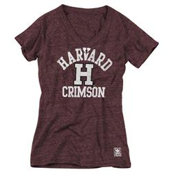 Harvard Crimson Women's Heather Red adidas Originals Her Homecoming Tri-Blend V-Neck T-Shirt