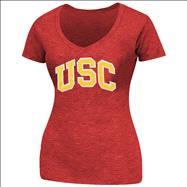 USC Trojans Women's Cardinal Arch Block Logo Too Slub V-Neck T-Shirt
