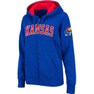 Kansas Jayhawks Women's Royal Twill Tailgate Full-Zip Hooded Sweatshirt