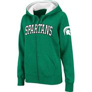 Michigan State Spartans Women's Dark Green Twill Tailgate Full-Zip Hooded Sweatshirt