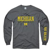 Michigan Wolverines Charcoal Primer Basketball Long Sleeve T-Shirt
