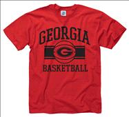 Georgia Bulldogs Red Wide Stripe Basketball T-Shirt