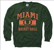 Miami Hurricanes Green Wide Stripe Basketball Crewneck Sweatshirt